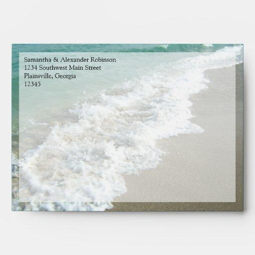 Scenic Beach Destination Wedding Envelopes