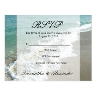 Scenic Beach Destination Wedding RSVP Postcard