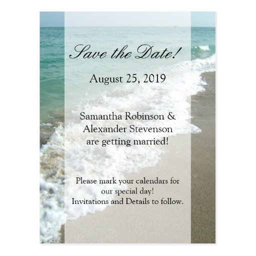 scenic beach destination wedding save the date postcard zazzle