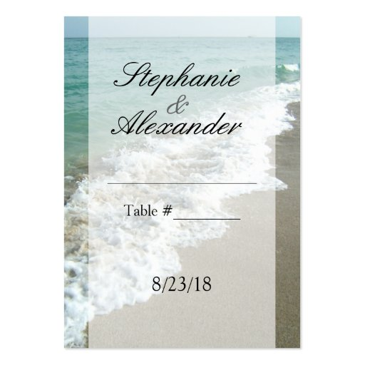 Scenic Beach Destination Wedding Table Place Cards Large Business Cards (Pack Of 100)