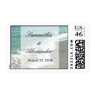Scenic Beach Wedding Postage Stamps