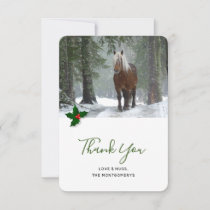 Scenic Brown Horse in a Winter Forest Christmas Thank You Card