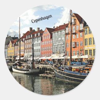 Scenic Canal in Copenhagen Classic Round Sticker