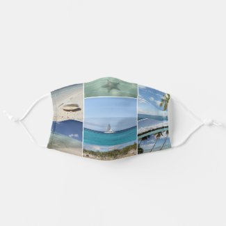 Scenic Caribbean Isla Saona Photo Collage Cloth Face Mask