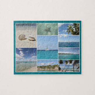 Scenic Caribbean Isla Saona Photo Collage Jigsaw Puzzle