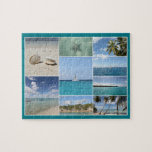 """Scenic Caribbean Isla Saona Photo Collage Jigsaw Puzzle<br><div class=""""desc"""">Beautiful collage of the best impressions of Isla Saona, part of the Dominican Republic in the Caribbean. Featuring starfish, seashells, sailing boats, palm trees and white sandy beaches. Great travel souvenir for your dream vacation in a tropical paradise! Why not check out some of my other unique Caribbean souvenirs? com...</div>"""