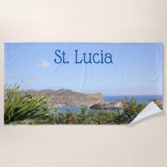 Scenic Caribbean Island Saint Lucia Beach Towel