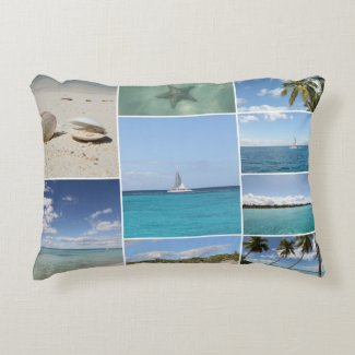 Scenic Caribbean Photo Collage Decorative Pillow