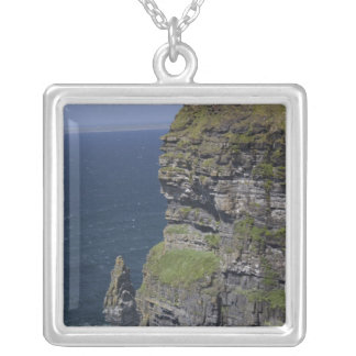 Scenic Cliffs of Moher and O'Brien's Tower Square Pendant Necklace