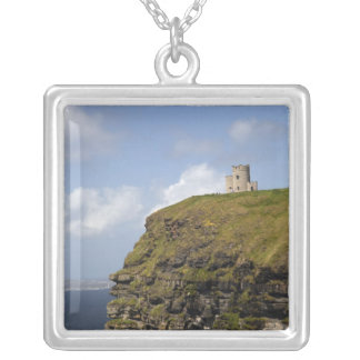 Scenic Cliffs of Moher and O'Brien's Tower. Square Pendant Necklace