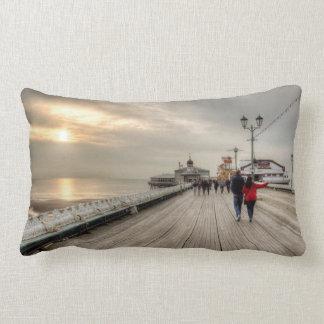 Scenic Coastal View Blackpool Pier UK Lumbar Pillow