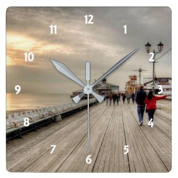Scenic Coastal View Blackpool Pier UK Square Wall Clock