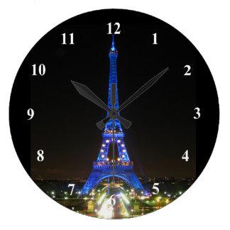 Scenic Eiffel Tower at Night Large Clock