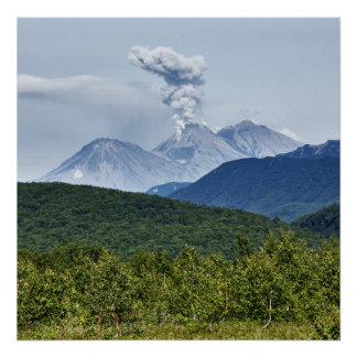 Scenic eruption of Zhupanovsky Volcano. Russia Poster