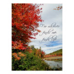 Scenic Fall Trees and Christian Scripture Poster
