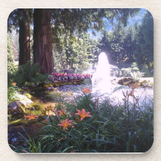 Scenic Garden with Water Fountain Drink Coasters