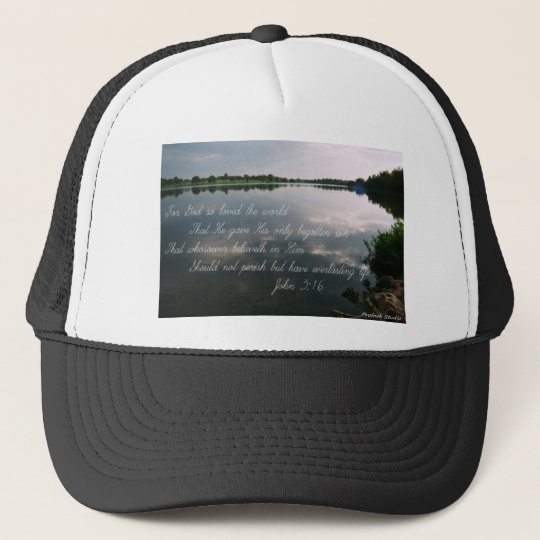 Scenic Image w/John 3:16 Trucker Hat