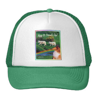 Scenic Ireland Stream with Collie and Sheep Mesh Hat