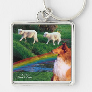 Scenic Ireland Stream with Collie and Sheep Silver-Colored Square Keychain