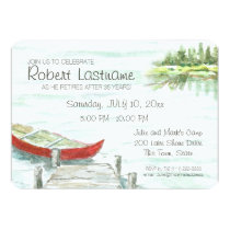 Scenic Lake and Canoe Retirement Party Card