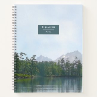 Scenic lake in the mountains notebook w 2021 calendar