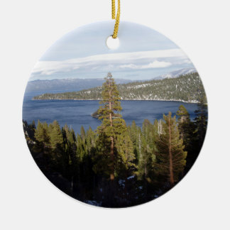 Scenic Lake Tahoe Double-Sided Ceramic Round Christmas Ornament