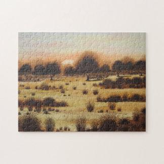 scenic landscape sunset over woodland plains art jigsaw puzzle