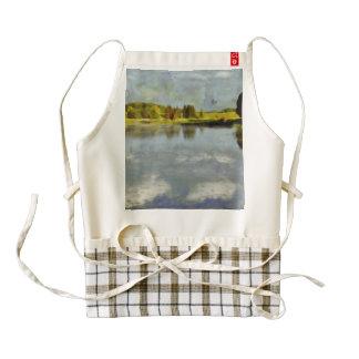 Scenic landscape with a lake zazzle HEART apron