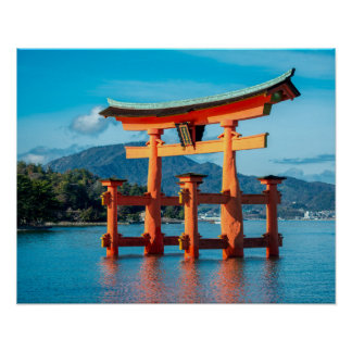 Scenic Landscape with Japanese Torii Gate Poster
