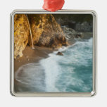Scenic McWay Falls tumbles into the beach and Square Metal Christmas Ornament
