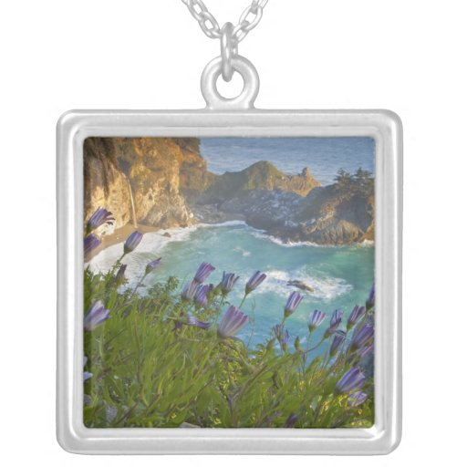 Scenic McWay Falls tumbles into the beach and Square Pendant Necklace