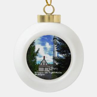 Scenic Michigan Ceramic Ball Christmas Ornament