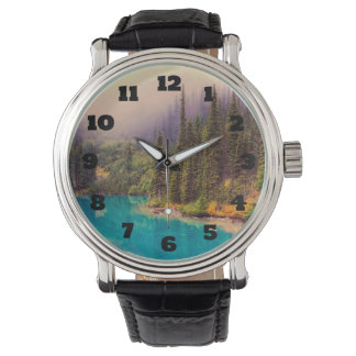 Scenic Northern Landscape Rustic Wristwatch