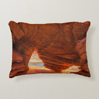 Scenic of eroded sandstone cave accent pillow