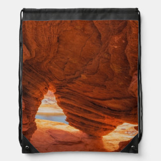 Scenic of eroded sandstone cave drawstring backpack