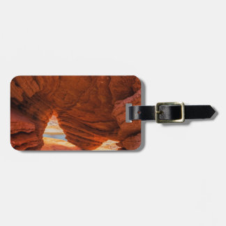 Scenic of eroded sandstone cave tag for luggage