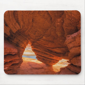 Scenic of eroded sandstone cave mouse pad
