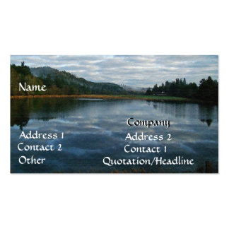 Scenic Oregon Lake Dawn Sunrise Forest Trees Cloud Business Card
