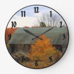 Scenic Picturesque Fall Colors Old Wood Farm Barn Large Clock