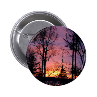 Scenic Pink and Orange Sunset Button