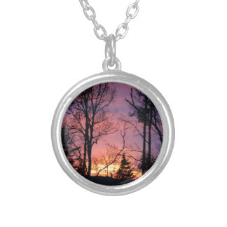 Scenic Pink and Orange Sunset Silver Plated Necklace
