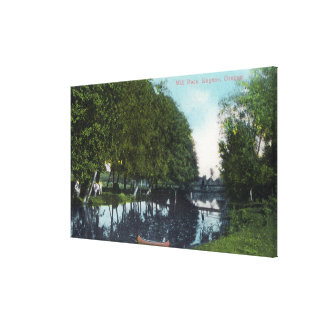 Scenic River with Canoe SceneEugene, OR Canvas Print