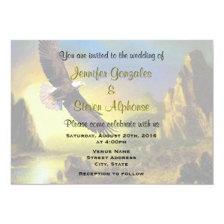 Scenic Rustic Bald Eagle Patriotic Wedding Card