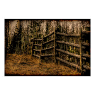 Scenic Rustic Fence in the Country artwork Poster