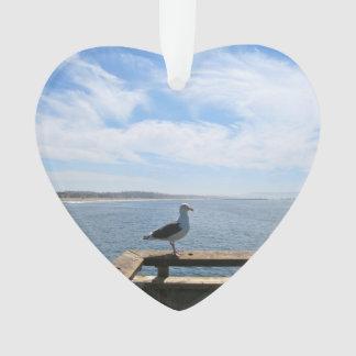 Scenic Seagull Acrylic Heart Ornament