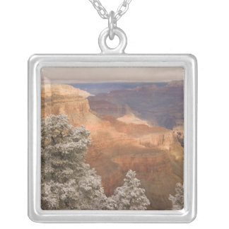Scenic snowy winter landscape along the south silver plated necklace