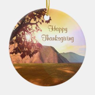 Scenic Thanksgiving Ceramic Ornament
