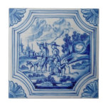 "Scenic Travelers Animals Blue Delft Wall Tile<br><div class=""desc"">Delft tiles date back to the seventeenth century when blue and white Chinese porcelain imports reached the Netherlands. The popularity of these items was a great influence on Dutch tile artisans and Delft became the center of production for these usually (but not always) blue and white tiles.</div>"