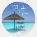 Scenic Tropical Beach Wedding Thanks Classic Round Sticker