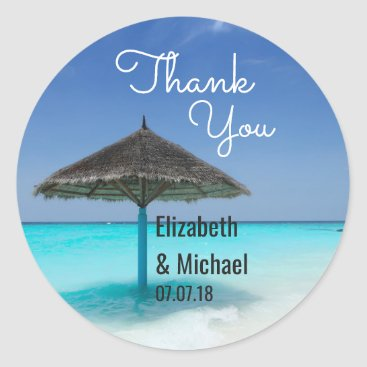 Beach Themed Scenic Tropical Beach Wedding Thanks Classic Round Sticker